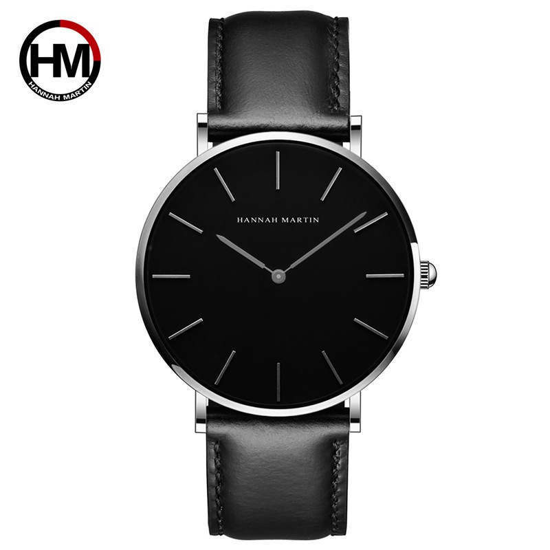 Hannah Martin Ultra-thin Mens Watch Japanese Movement Automatic Quartz Clock Top Super Good Quality Men Wristwatch Waterproof