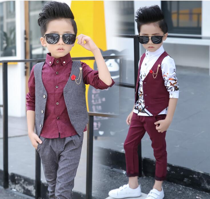 2016 New Design 3Pcs Boys Printed Wedding Suit Brand England Style Gentle Boys Formal Tuxedos Suit Kids Spring Clothing Set girl