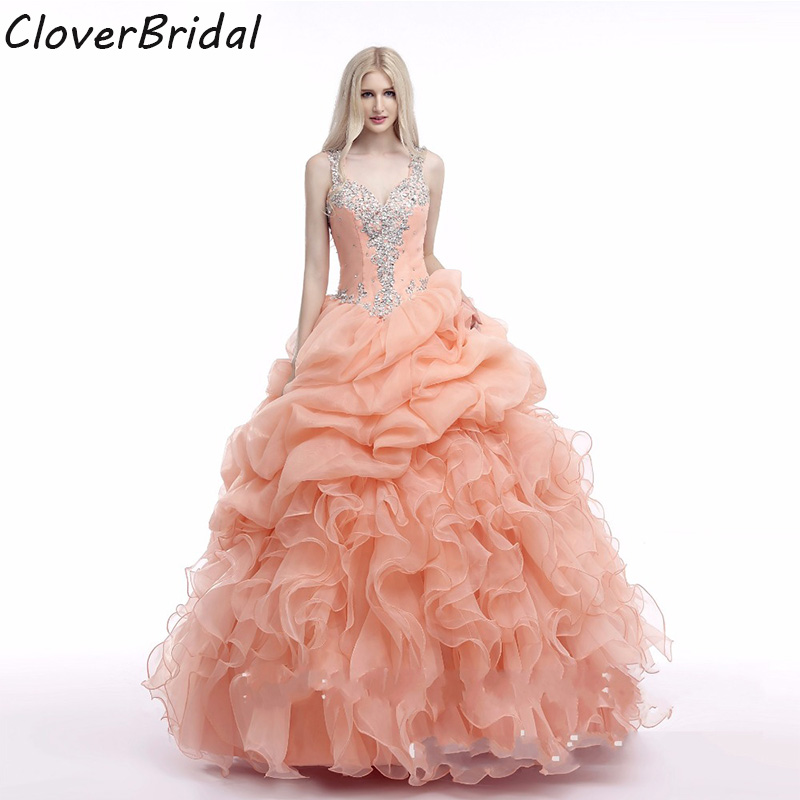 In stock organza ruffled cheap new coral quinceanera dresses 2017 with beaded straps mint green see