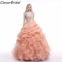 In stock organza ruffled cheap new coral quinceanera dresses 2017 with beaded straps mint green see though back ball gown