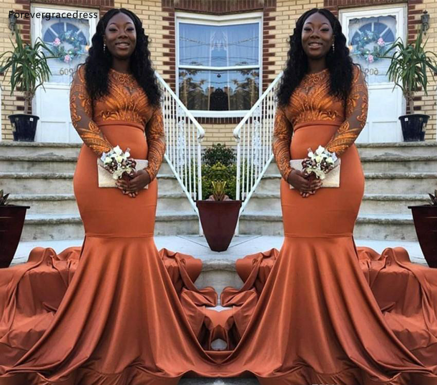 US $132.6 49% OFF|South African Black Girls Prom Dresses 2019 Mermaid Long  Sleeves Holidays Graduation Wear Party Gowns Plus Size Custom Made-in Prom  ...