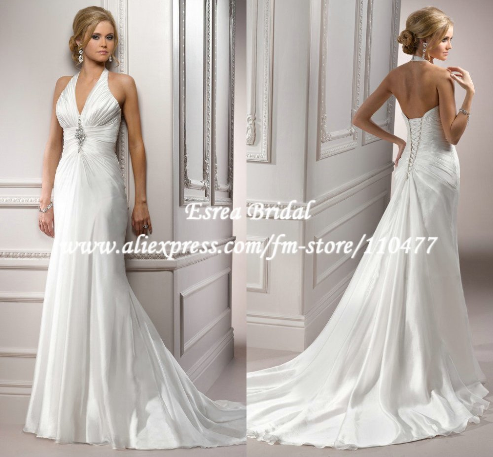 Halter Neck Wedding Gowns: FW133 New Arrival Ruched A Line Elegant Long Formal Bridal