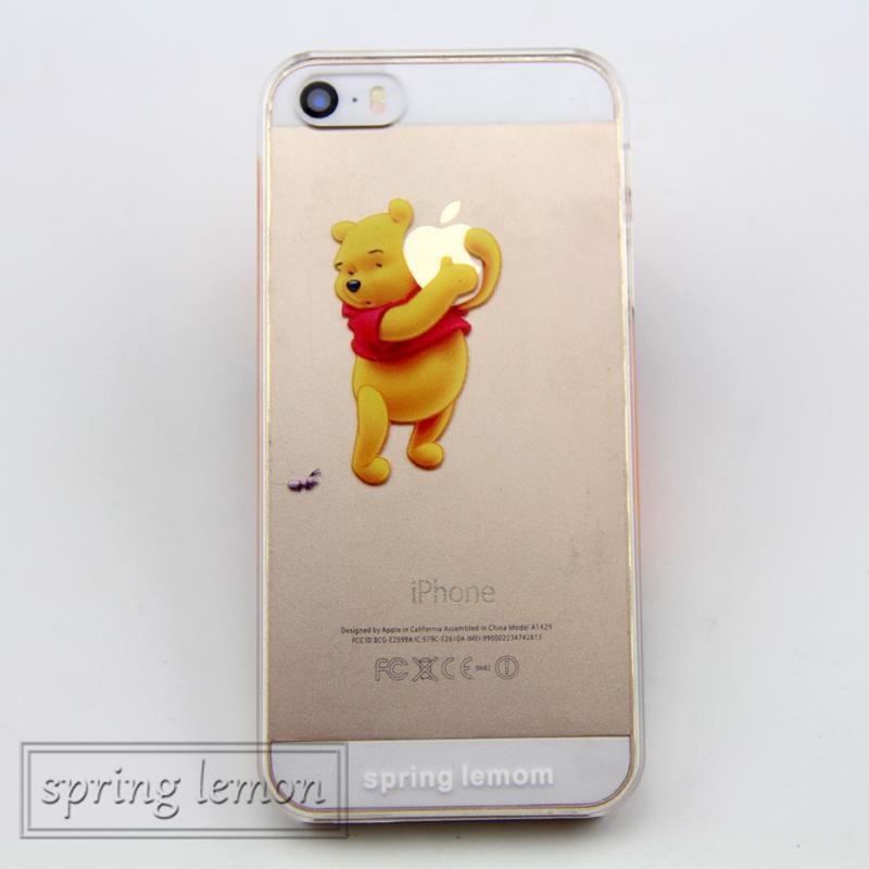 Awaiymi Transparent Cute Cartoon Pooh Bear Hold Logo Case For iphone 7 7plus 8 8plus 6