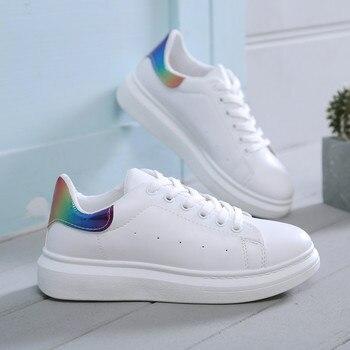 a6bdac5e Zapatos de mujer zapatillas blancas de moda Zapatos vulcanizados gruesos mujer  2019 Primavera Verano plataforma Tenis mujeres zapatos Casuales