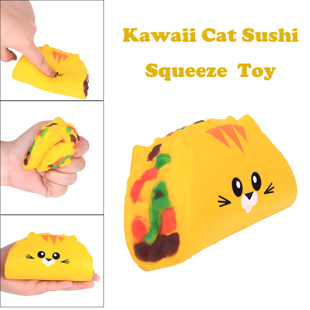 Kawaii Cat Sushi Slow Rising Scented Squeeze Relieve Stress Toy  smooshy mushy toys for childrenKawaii Cat Sushi Slow Rising Scented Squeeze Relieve Stress Toy  smooshy mushy toys for children