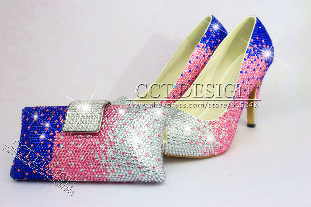 Pink Wedding Shoes Low Heel: White Pink Blue Rhinestone Wedding High Heels Sexy Women