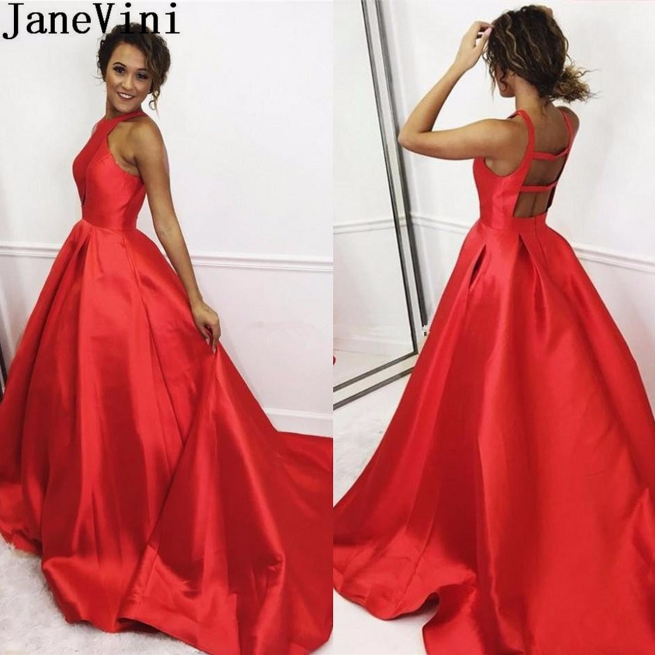 JaneVini Red Satin   Dress   for Women Prom   Bridesmaid     Dresses   Long Backless Pockets Sweep Train A Line Formal Gowns Wedding Party