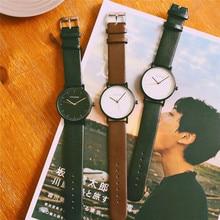 New Ulzzang Brand Simple Vintage Leather Black Brown Quartz Wristwatches Wrist Watch for Men Women Students