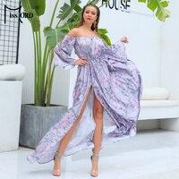 Missord 2019 Women Summer Sexy Off Shoulder Satin Print Dresses Female Backless High Split Maxi Elegant Dress FT18832