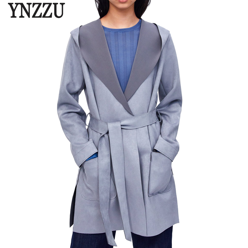 YNZZU 2018 Autumn Women   Suede     Leather   Jacket Vintage Solid Mid-Long Slim Sashes Hooded   Leather   Coat Women High Quality YO654