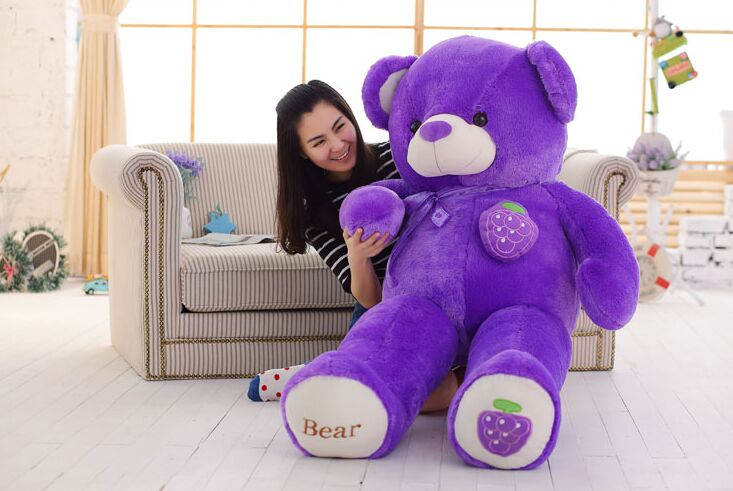 stuffed toy huge 160cm purple grape fruit teddy Bear plush toy bear doll hugging pillow Christmas gift,b0789 stuffed animal 120 cm cute love rabbit plush toy pink or purple floral love rabbit soft doll gift w2226