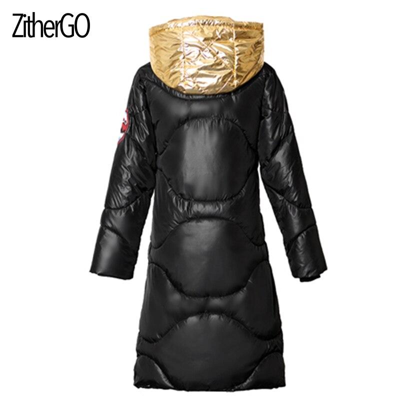 Nouveau Golden Manteau Hiver Lumineux Automne Mode Femmes Zithergo Parkas Vers Le Style silver À Outwear Veste Bas Pain Capuchon Chaud Bomber Rembourré Coton I1nwpaq