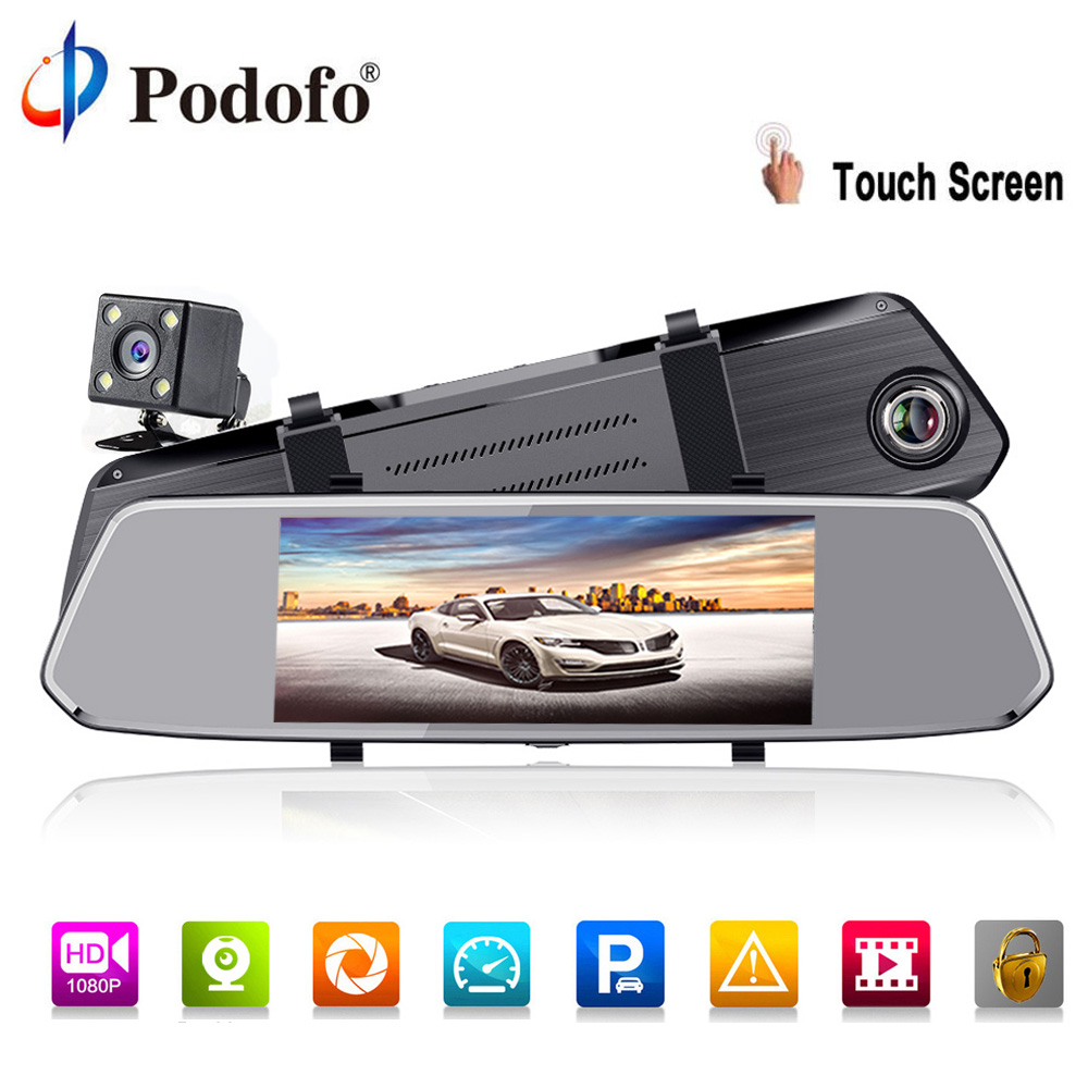все цены на Podofo Full HD 1080P Rearview Mirror Car Dvr Stream dash Camera 7
