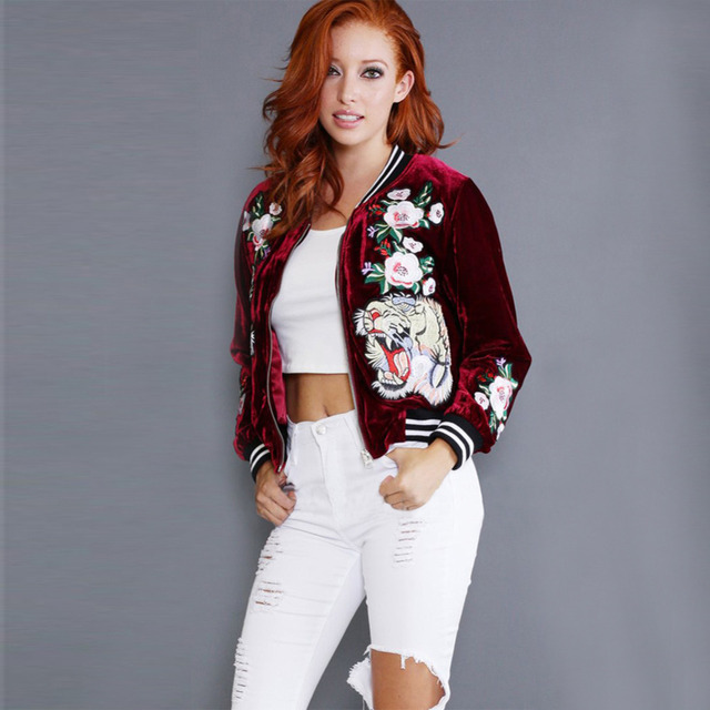 ebc31e2f2d8 2018 Fashion Plus size Embroidered Velvet bomber jacket women Casual Coat  tiger rose Outerwear Trendy Winter Jacket Female Brand