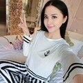 New 2016 Autumn Winter Womens Pajama Sets O-Neck Long Sleeve Women Sleepwear Pajamas Girls Woman Pyjama Femme Plus Size XXL