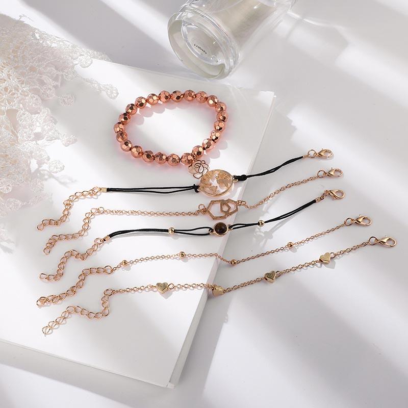6 Pcs Set Love Heart Hexagon Charm Women 39 s Bracelets Bangles Hollow Flower Map Bracelets Jewellery Fashion Bracelets Woman 2019 in Charm Bracelets from Jewelry amp Accessories