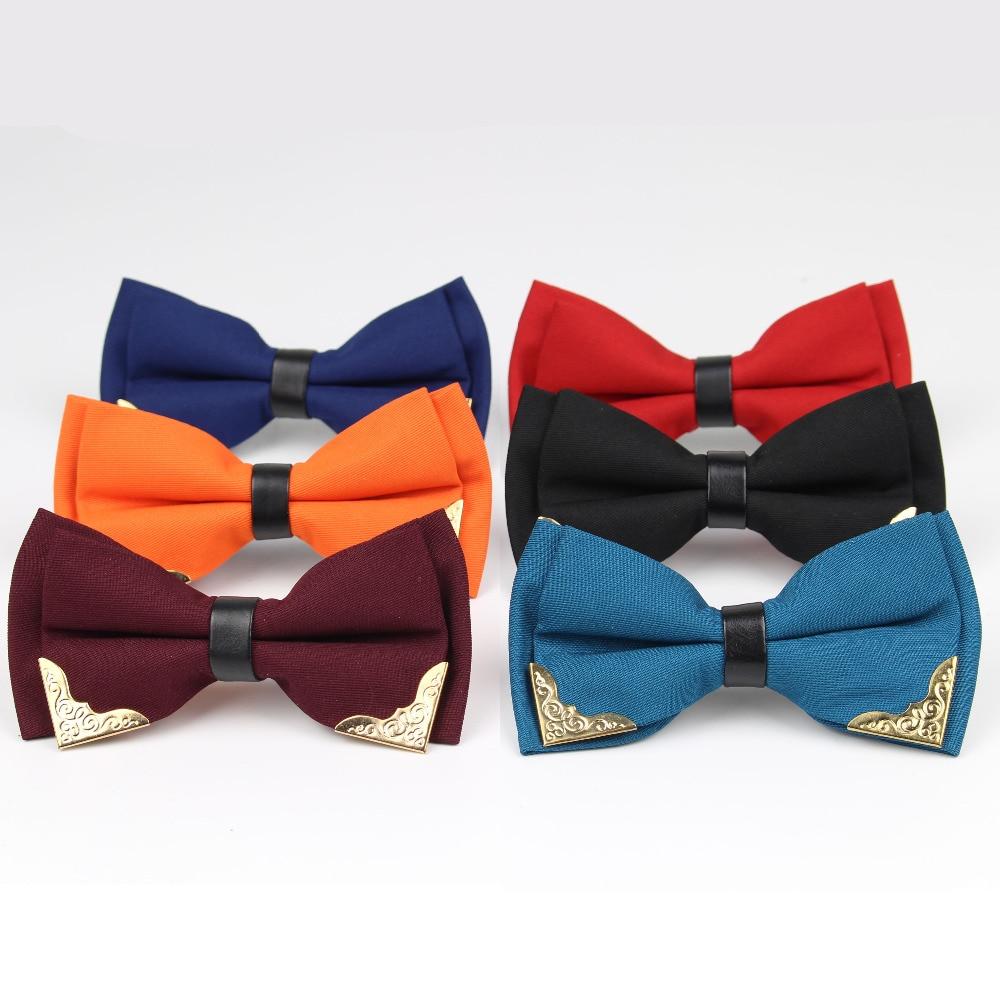 Boutique Metal Head Bow Ties For Groom Men Women Double Layer Butterfly Solid Noble Bowtie Classic Kingly Gravata Cravat