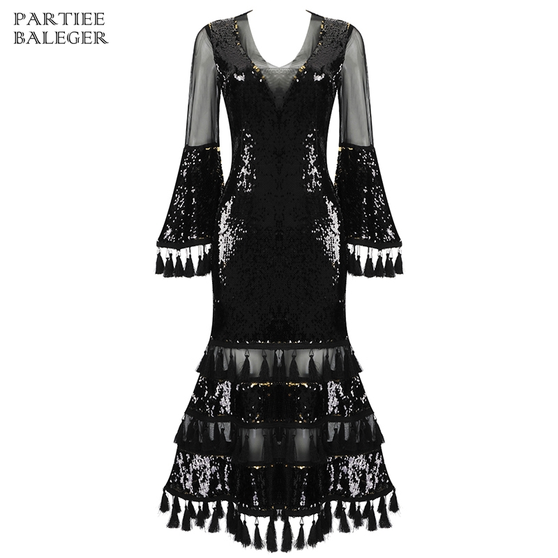 2019 New Arrival Chic Black Sequins Mesh Patchwork Tassels Design Long Sleeves Celebrity Party Club Wear Women Maxi Long Dress