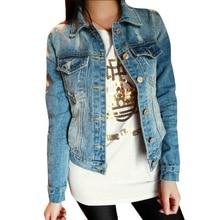 Fashion Women Slim Short Coat Jeans Denim Jacket Long Sleeve Outerwear S M L XL
