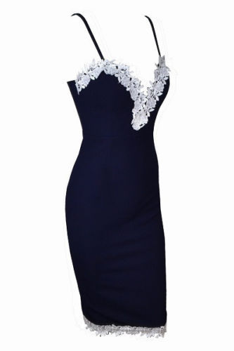 Sexy Women Navy Bodycon Strappy V Neck Floral Lace Party Dress Ladies Summer Dress vestidos Clubwear
