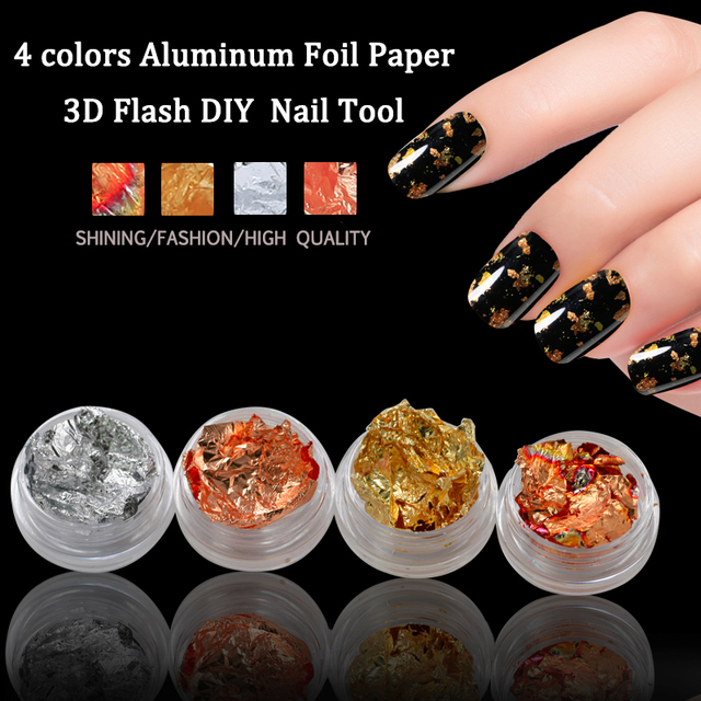 Belle Fille Gold Glitter Leaf Silver Holo Foil For Nails Metal Nail ...