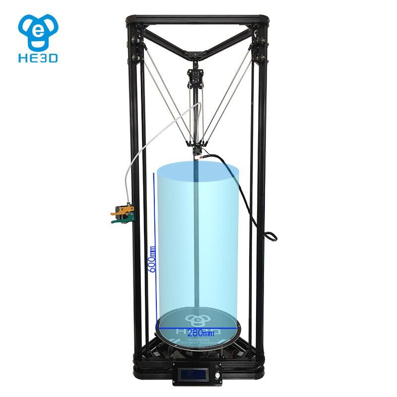 HE3D K280 Kossel delta 3D stampante, DC 24V400w di alimentazione, di grande formato di stampa, ad alta velocità, livello di auto, letto di calore, il supporto multi materiale