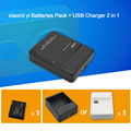 1010mAh xiaomi yi Rechargeable Batteries Pack + Desk USB Charger for xiaomi yi Action Camera xiaoyi sport cam yi accessories