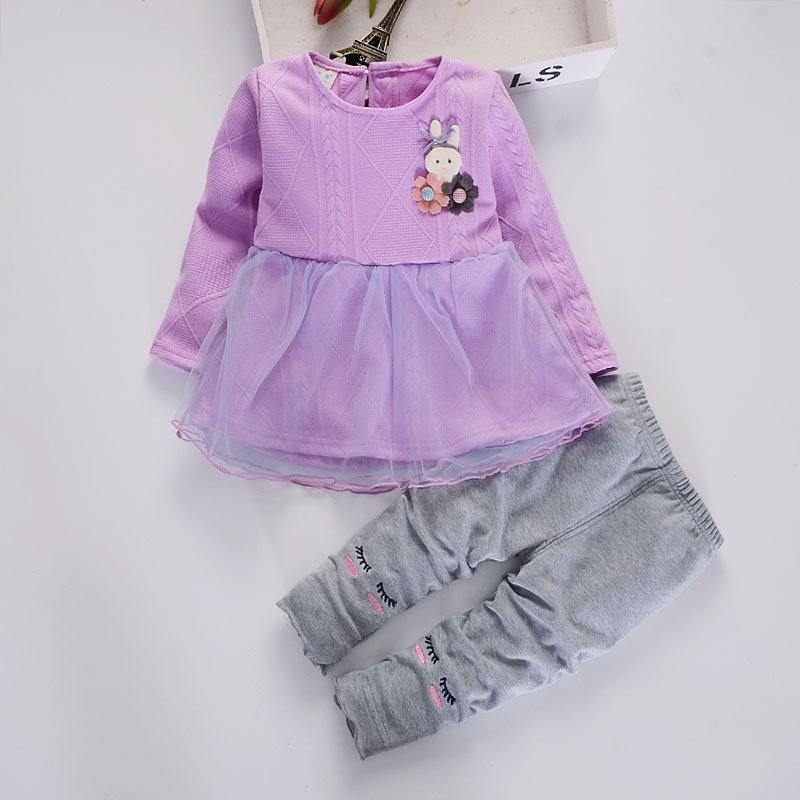 2017 Hot Sale New Novelty Baby Girl Clothes Autumn Clothing Sets Cartoon Rabbit Dress+casual Pants 2pcs For Girls Dresses Set