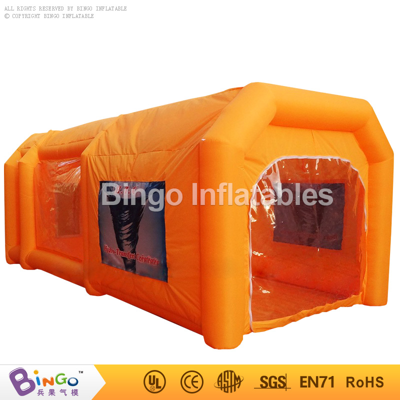 все цены на Free Shipping 6M inflatable spray paint booth high quality orange inflatable garages Aufblasbares Spritzkabinenzelt toy tents онлайн