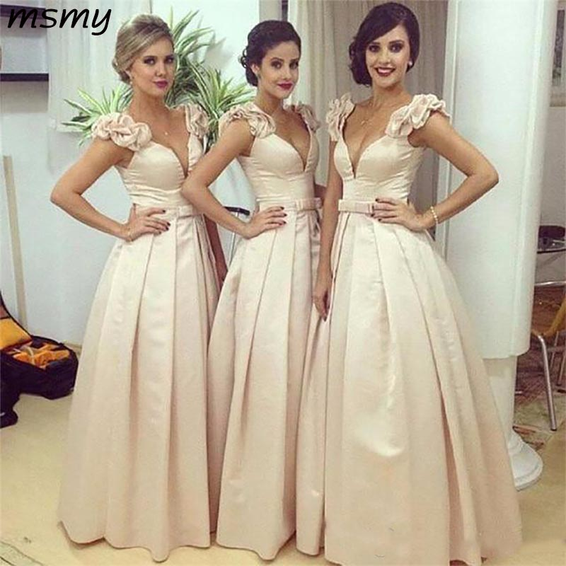 V Neck   Bridesmaid     Dresses   Cap Sleeves Floor Length Champagne Satin Wedding Guest Wear Party   Dress   Plus Size Maid of Honor Gowns