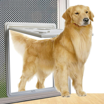 Lockable Magnet Control Pet Dog Cat Door for Screen Window Security Flap Gates Pet Tunnel Dog Fence Free Access Door for Home 1