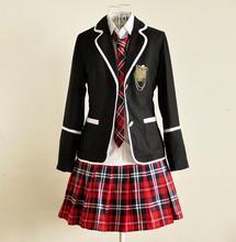 Japanese School Girl Uniform Cosplay England lolita Costume Black Red Tartan Dress Surcoat