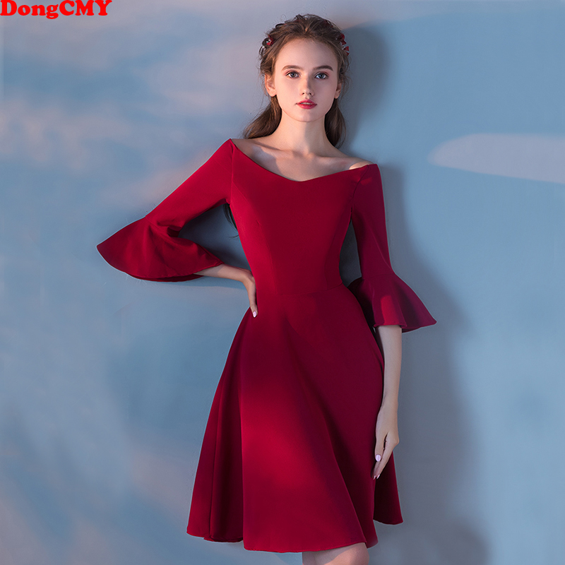 DongCMY 2018 New Arrival short Plus size Wine Red puff sleeve Slim Party Women   Cocktail     Dresses   Vestidos