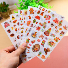Korea Stationery Stores Gourmet series of children's stationery sticker 6 Set DIY decorative stickers notebook