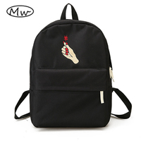 Moon Wood Unisex Backpack Black White Harajuku Embroidery Heart Couple Backpacks School Bags For Teenager Girls
