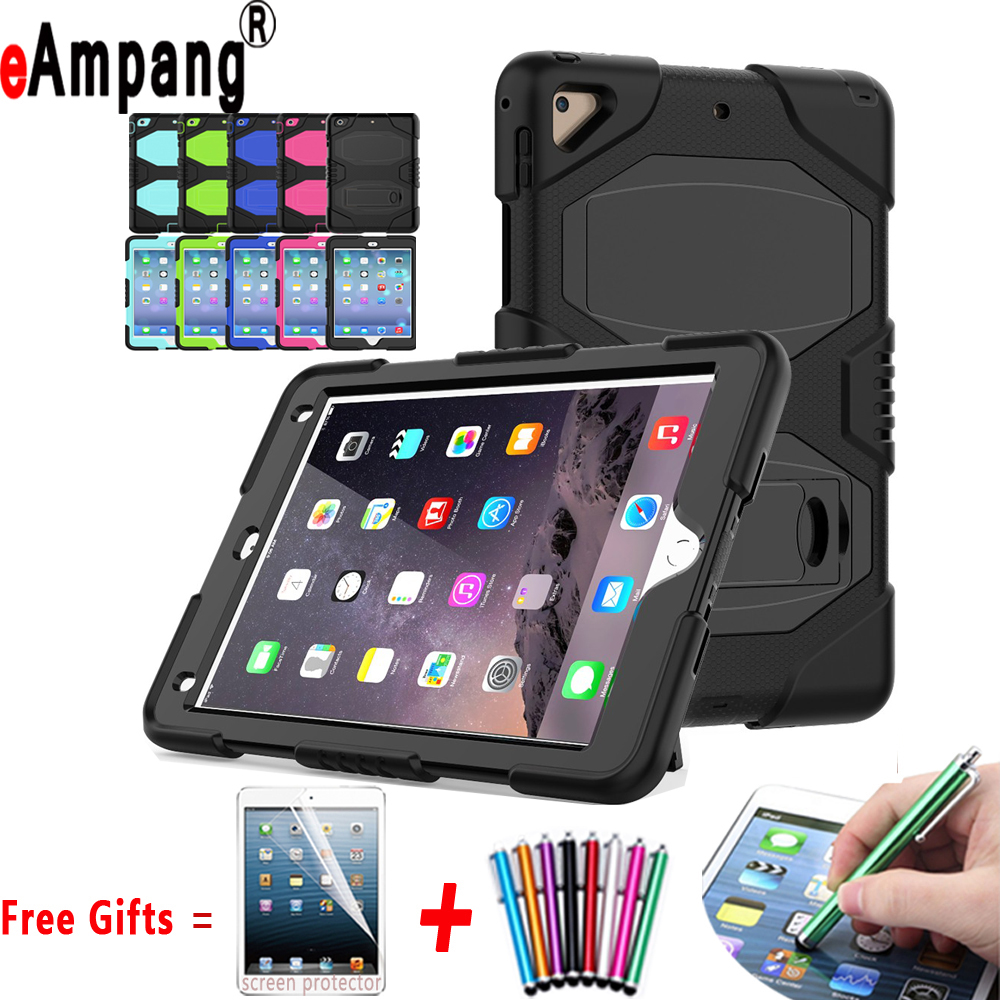 Shockproof Armor Three Layer Full Protector Tablet Stand Silicone Case for Apple iPad Air 2 Air2 iPad 6 9.7inch Coque Capa Funda hand strap shockproof stand case armor cover for ipad air 2 ipad 6 full protective stand case for ipad air2 ipad6