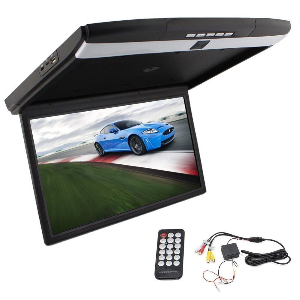17i inch Widescreen LCD Screen Overhead Display Flip Down Monitor Video Player FM Mondulator Roof Mount Monitor 2 video input