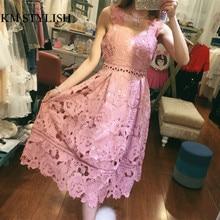 [NEW SALE] 2017 Pink Cutout Lace Sleeveless Spaghetti Strap One-piece Dress Female High Waist Elegant Full Dress