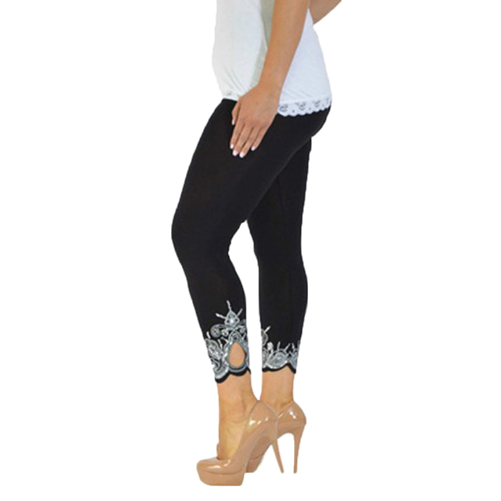Woman's Sexy Hollow Lace Stitching   Leggings   Women Plus Size Leggins Elbows for Fitness Legins Push Up Workout Jeggings #T
