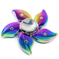 New Beautiful Rainbow Flower Fidget Finger Hand Spinner Zinc Alloy Gyro Focus EDC Toy