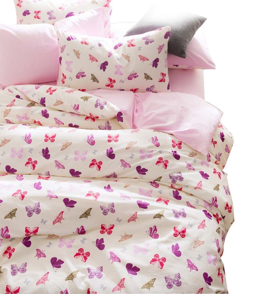 winlife romntica mariposa del lecho pink girls duvet cover set de cama de algodn