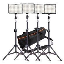 Travor 4 w 1 Stock 160 Oświetlenie LED Studio Kit ściemniania Ultra High Power LED Panel Cyfrowy Aparat DSLR Kamery światło