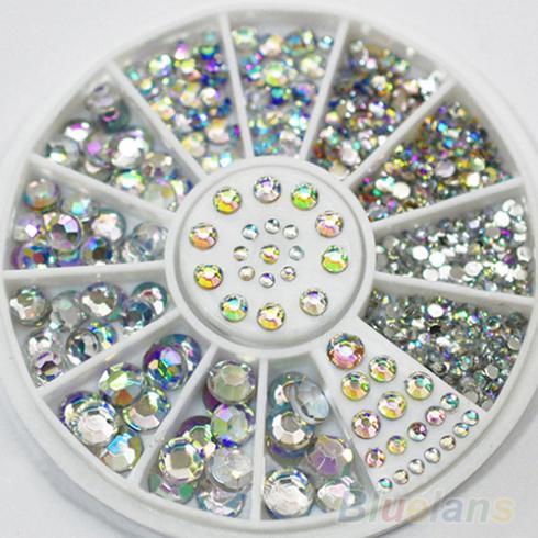 Hot Sale 5 Tamanhos Multicolor Branco Acrílico Nail Art Decoração Pedrinhas Glitter Adesivos