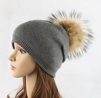 60PCS Hat Female Women Raccoon Wool Fox Fur Pom Poms Warm Knitted Casual High Quality Vogue Winter Hats Caps   Skullies     Beanies