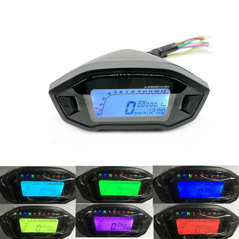 Adeeing Universal 12V motocicleta LCD Digital de 13000rpm velocímetro de fondo de la motocicleta del odómetro impermeable prueba de sol r30