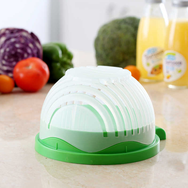 Multi-function Hot sale Salad Maker Cutter Bowl Easy Speed Quick Chop Vegetable Slicer Kitchen Tools 21*12cm