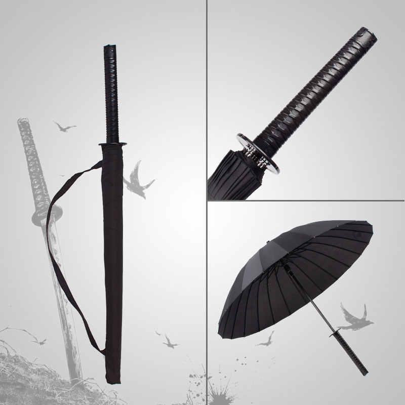 24 K фантазии времени из черной японской зонт-самурайский меч катана Зонтик с длинной ручкой Для мужчин Для женщин дождь зонты классический зонт Z560