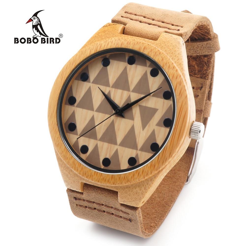 Prix pour Bobo bird rt0450 lovers conception marque de luxe en bois bambou montres avec En Cuir véritable Quartz Pour Femmes Hommes en Cadeau Boîte OEM