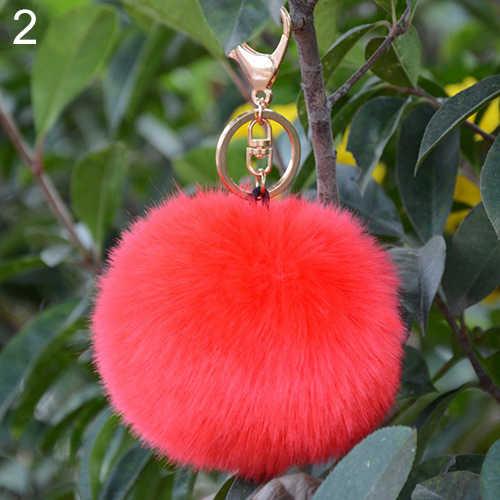 Bluelans Moda Quente Peludo Bola Anel Chave Keychain Saco Chave Pendurada Acessórios Cauda de Pele de Coelho