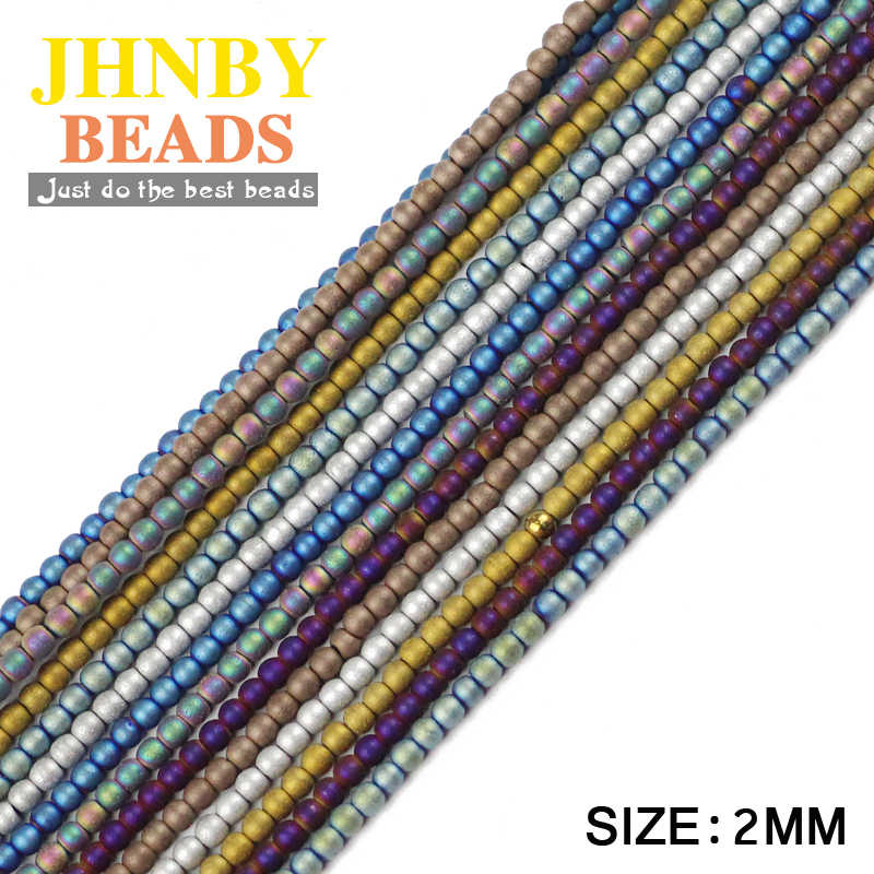 JHNBY מט המטיט 2mm 300pcs שחור כדור טבעי אבן עפרות ציפוי 8 צבע עגול Loose לתכשיטים צמיד ביצוע DIY